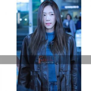 Goo hara brown long leather over coat