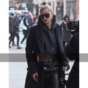 Black wool blazer style overcoat