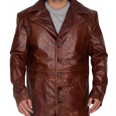 men distressed brown leather long trench coat