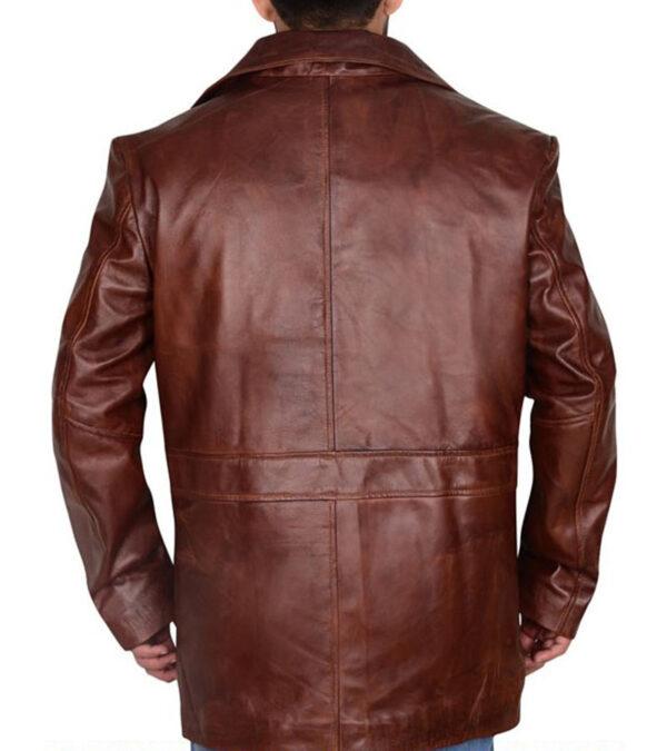 Men Distressed Brown Leather Rain Coat