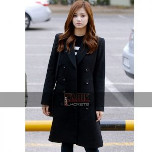 Jessica jung black long wool over coat