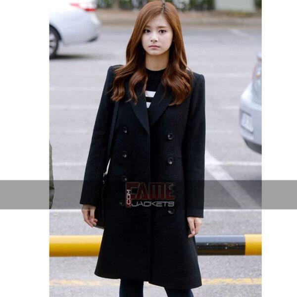 Jessica jung black long wool over coat