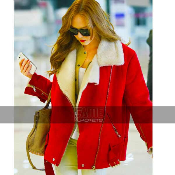 jessica jung maroon fur lining real leather jacket