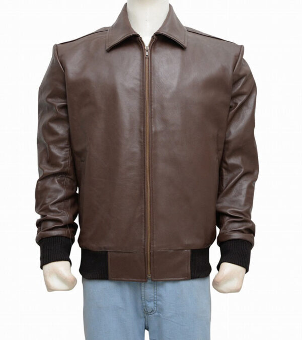 Men Casual Faux Brown Leather Jacket