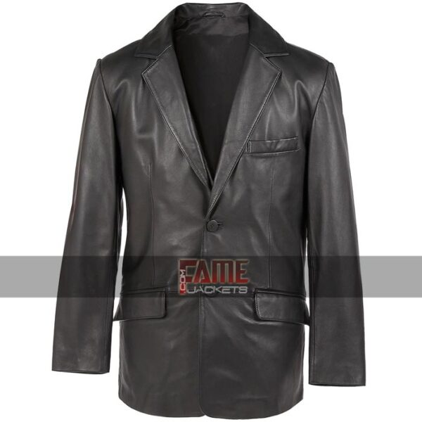 men formal use real black leather jacket
