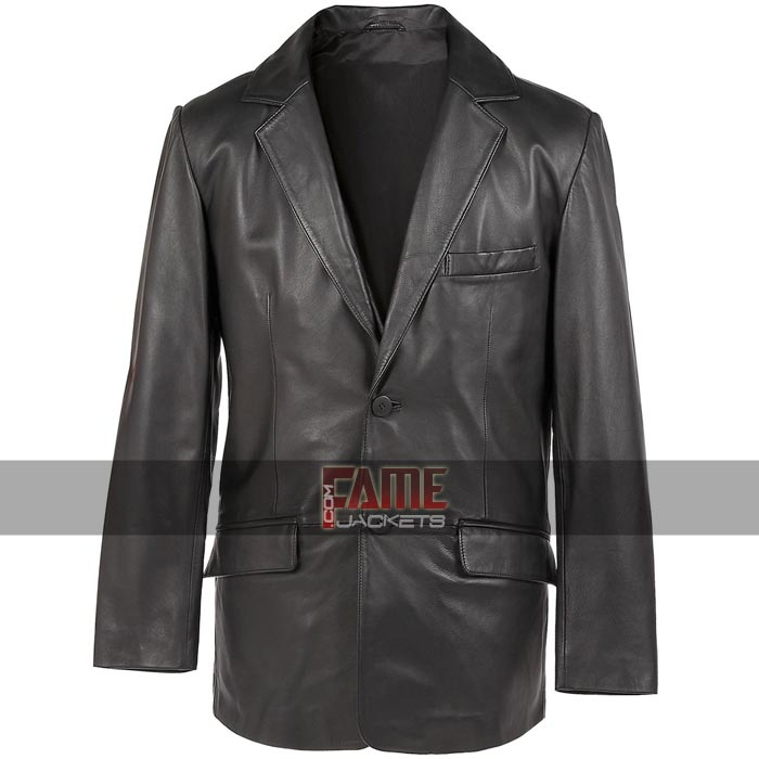 Men Casual Real Black Leather Blazer