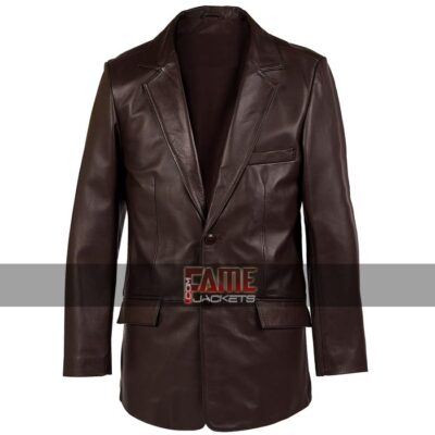 Men Casual Real Light Brown Leather Blazer
