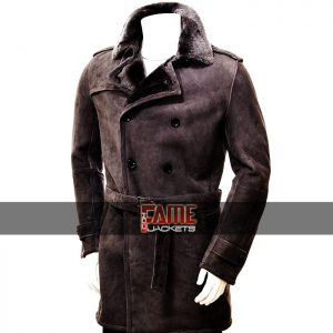 men shearling brown suede trench coat
