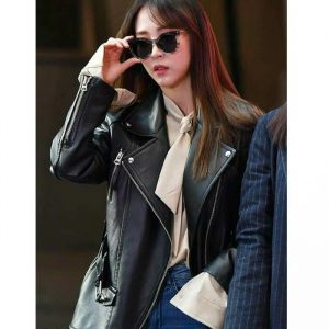 $30 Off on Singer Moonbyul Mamamoo Black Leather Baggy Jacket