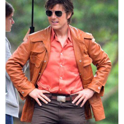 Tom Cruise Vintage Orange leather Jacket