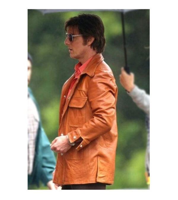 Men Vintage Orange Leather Jacket