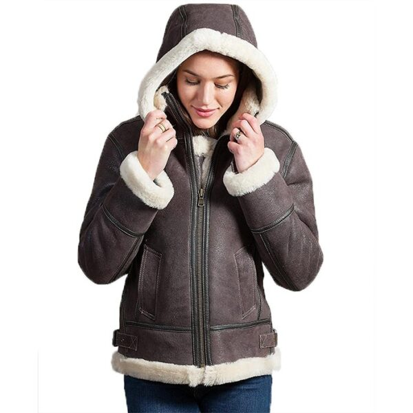 Buy Women's B3 Bomber Faux Brown Leather Fur Lining Jacket on Sale