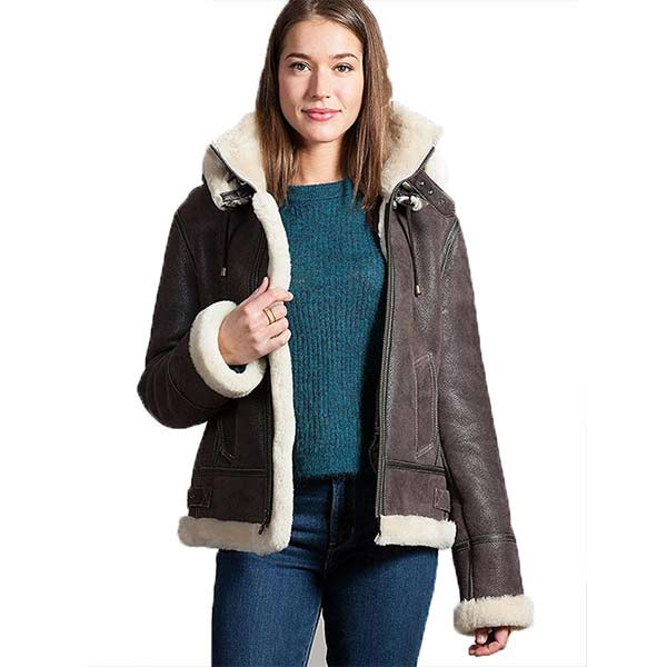 shop for genuine popular stores top-rated cheap Women Aviator B3 Brown Leather Fur Lining Bomber Jacket