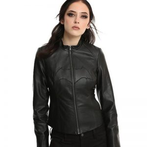 Women Batman Black Biker Real Leather Jacket