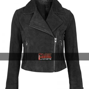 Buy Ladies Black Suede Leather Jacket at $40 Off Sale