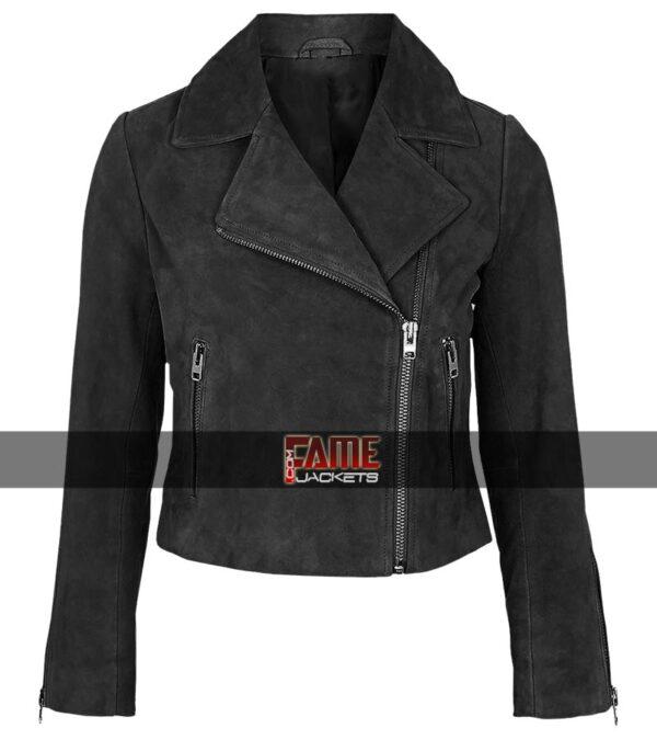 Buy Ladies Black Suede Leather Jacket at $40 Off Sale