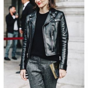 Buy Women Slim Fit Black Leather Biker Jacket
