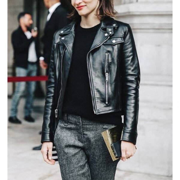 Buy Women Slim Fit Black Leather Biker Jacket