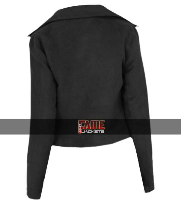 $40 Off Sale - Ladies Black Suede Leather Biker Jacket
