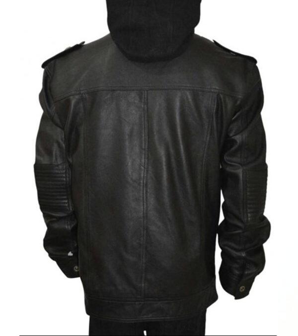 AJ Black Leather Hooded Jacket For Men