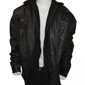 WWE AJ style faux leather hooded jacket