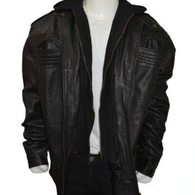 WWE AJ style faux leather hooded jacket