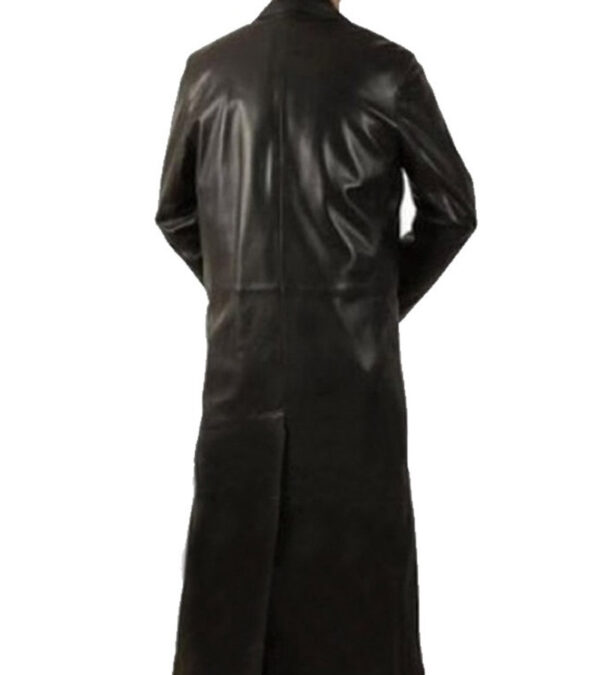Gents Black Leather Long Coat