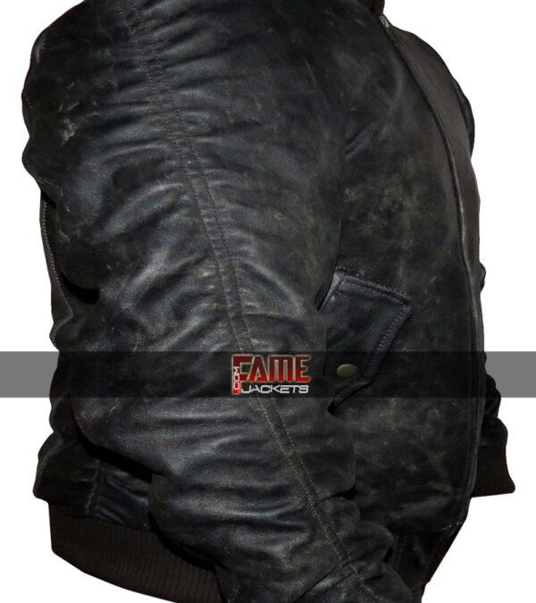 WWE dean ambrose distressed black leather jacket