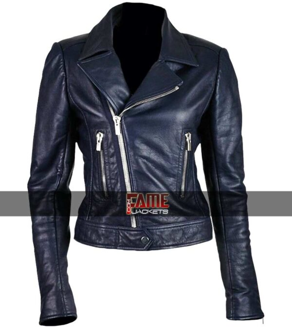 ladies slim fit blue leather jacket