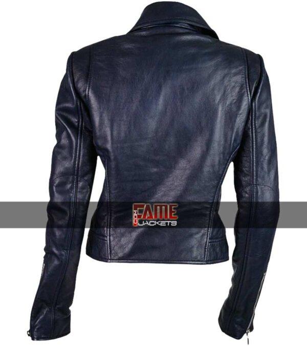 ladies slim fit moto blue leather jacket