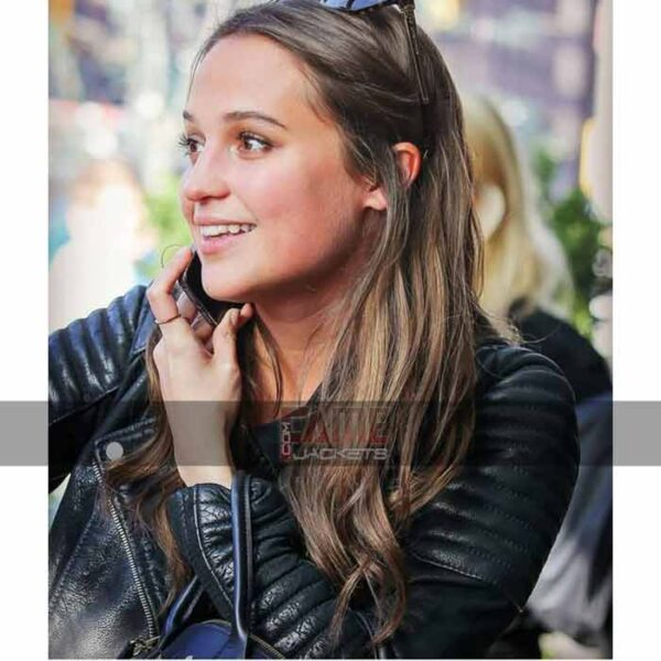 alicia vikander black leather biker jacket