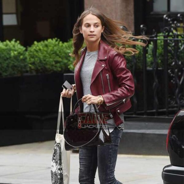 alicia vikander slim fit maroon leather biker jacket
