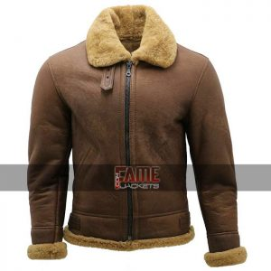 mens aviator b3 bomber real brown leather jacket