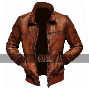 cafe racer men vintage biker distressed brown leather jacket