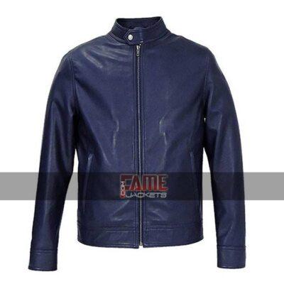 cafe racer real blue leather biker jacket