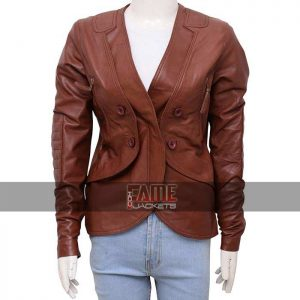 Buy Stana Katic Women's Casual Brown Leather Jacket Sale