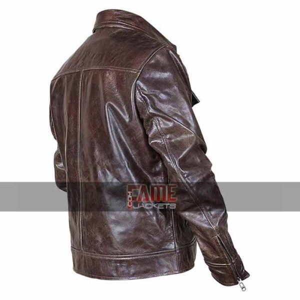 Mens vintage distressed brown leather jacket