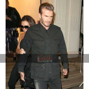 david beckham mens black bomber cotton jacket