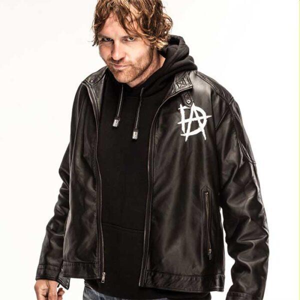 wwe dean ambrose logo black leather jacket