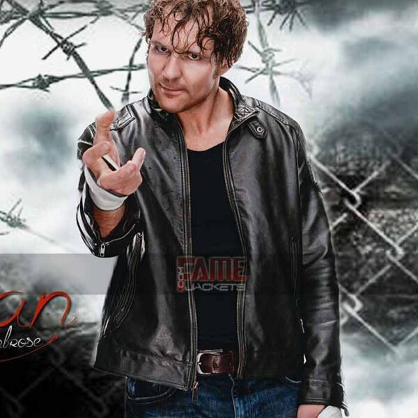 dean ambrose faux leather biker jacket