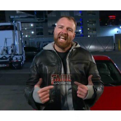 www dean ambrose black biker leather jacket