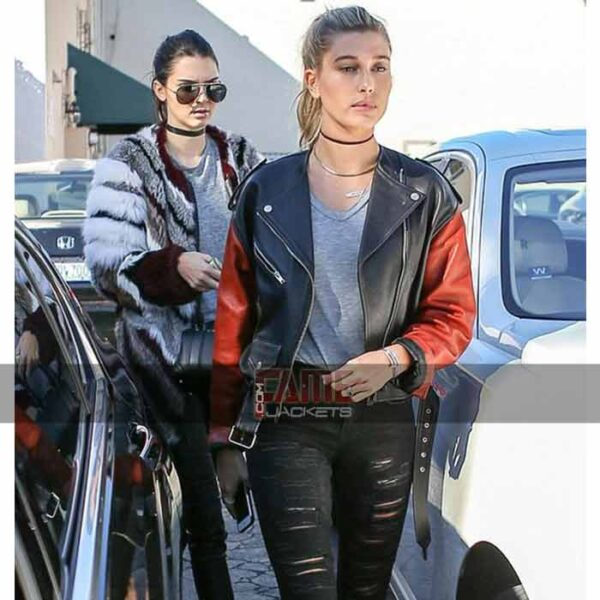 hailey baldwin latest black orange leather biker jacket