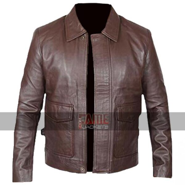 mens brown vintage real leather jacket