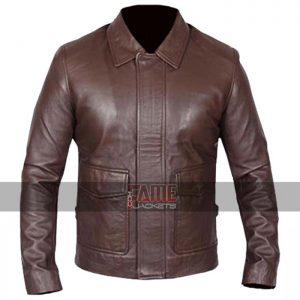 indiana jones vintage real brown leather jacket