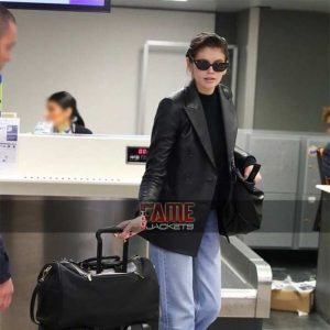 kaia gerber black leather casual blazer coat