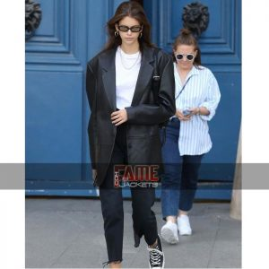 kaia gerber women black leather casual blazer