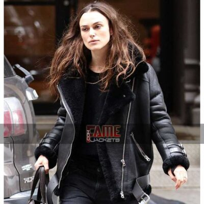 keira knightley women B3 black real leather fur lining bomber jacket
