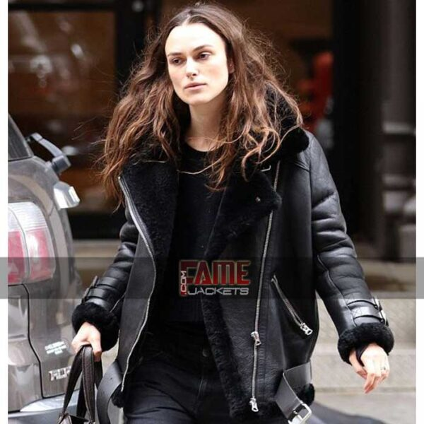 keira knightley women B3 black real leather fur lining bomber jacket