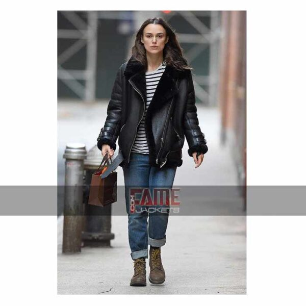 Keira Knightley women B3 black real leather fur lining jacket