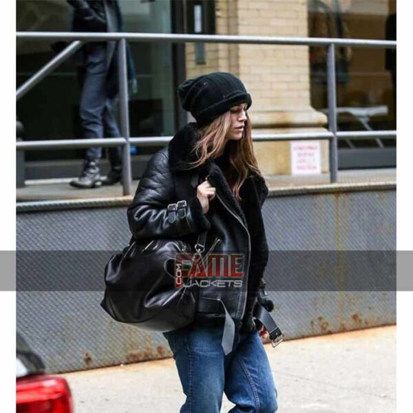 Keira Knightley women B3 bomber leather jacket